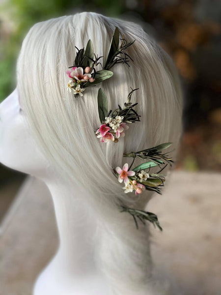 Flower hairpins for bride Green and pink floral hairpin Magaela Wedding hairpins Hochzeit Bridal hairpins Hair accessories Handmade Rosemary