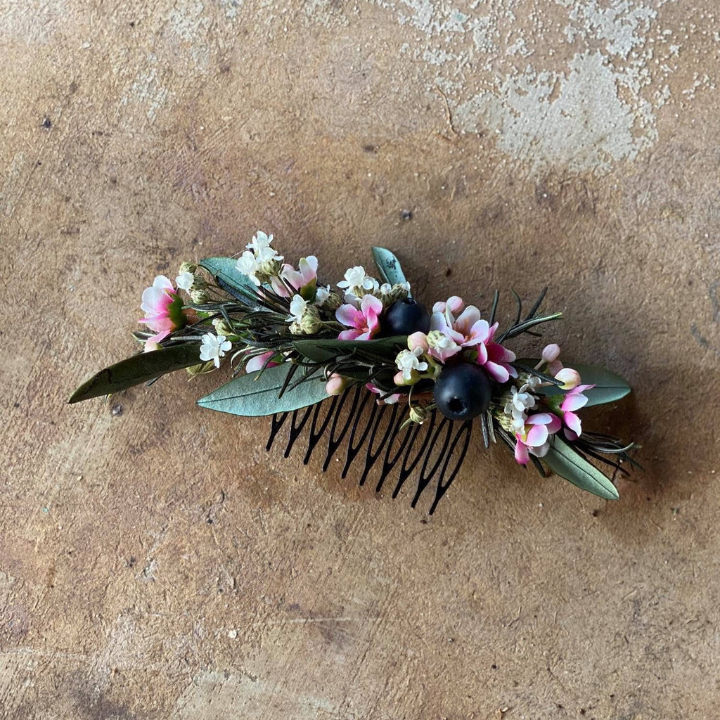 Natural wedding hair comb Green and pink floral comb Magaela Wedding flower comb Hochzeit Bridal comb Hair accessories Handmade Rosemary