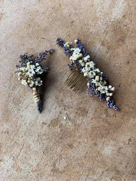 Natural lavender boutonniere Violet and white boutonniere Magaela Wedding accessories Hochzeit Bridal comb Groom accessories Baby's breath