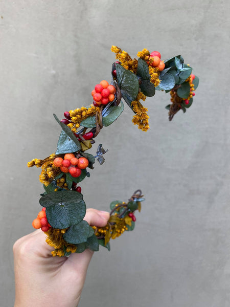 Autumn wedding flower half wreath Eucalyptus wedding crown Hairband Bridal accessories Autumn half wreath for bride Haarkrone Blumen