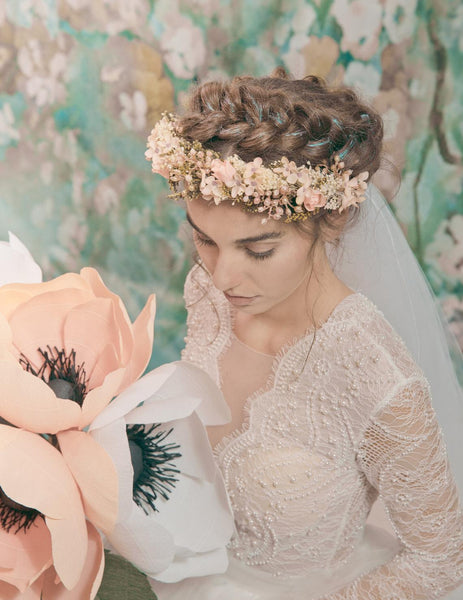 Romantic pink half wreath Wedding blush flower crown Pale pink bridal wreath Hochzeit haarkrone Blumen haarkranz Magaela accessories