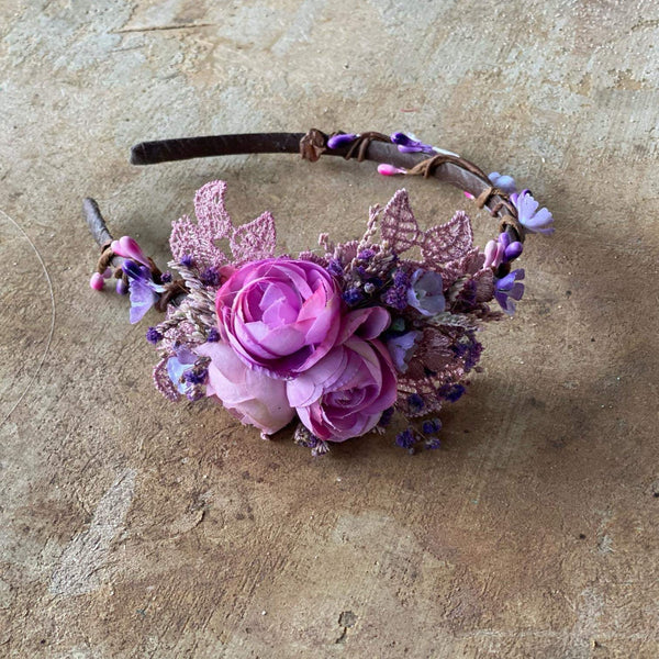 SALE Purple flower headband Wedding flower hairband Bridal accessories Violet headband for bride Magaela accessories Bridal headband Headpiece