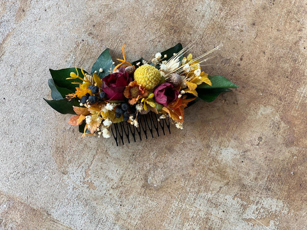 Autumn wedding comb Burgundy and orange bridal hair comb Ochre wedding bouquet Magaela accessories Hair comb for bride Fall wedding Handmade