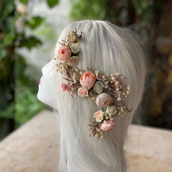 Flexible flower hair piece Wedding Bendable flower piece Hair arrangement Wedding accessories Bridal shapeable hair flowers  Magaela