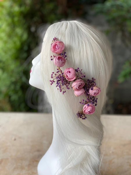 Pink and purple flexible flower hair piece Bendable flower piece Hair arrangement Wedding accessories Bridal shapeable hair flowers Magaela