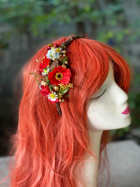 Red poppy flower headband Bridal flower hairband Wedding headband Folk Floral Wedding accessories Magaela accessories Blumen