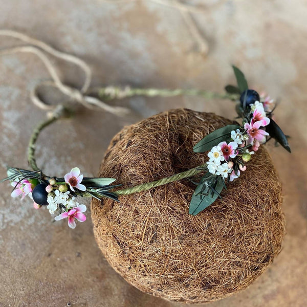 Natural romantic crown Flower hair wreath Rosemary Olive leaves flower wreath Blumen haarkrone Haarkranz Bridal flower crown Pink and Green