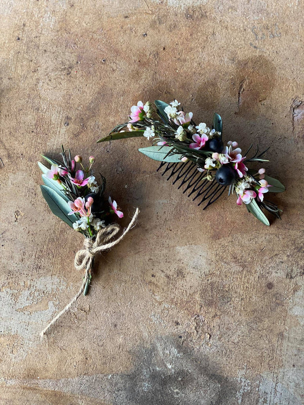 Pastel flower hair comb with berries Bridal mini hair comb Wedding flower hair comb Hair accessories for wedding Magaela accessories