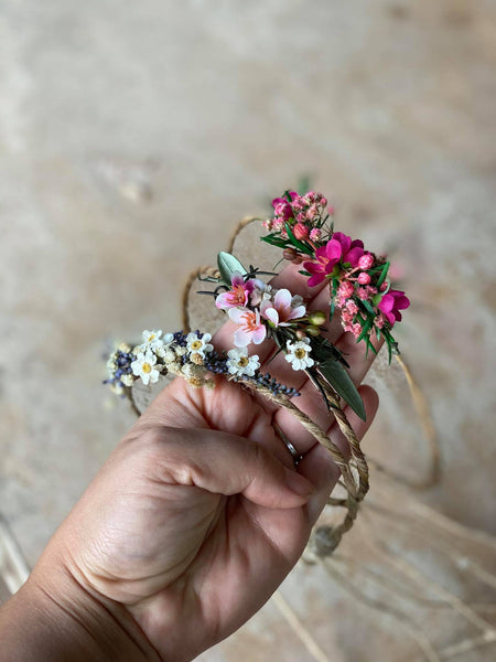 Pink newborn romantic crown Flower hair wreath Photo props Olive leaves flower wreath Blumen Haarkranz Bridal flower crown Pink and Green