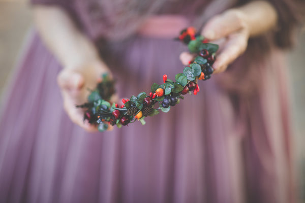 Autumn flower half wreath with berries Fall bridal flower crown Magaela accessories Eucalyptus autumn hair wreath Woodland flower crown