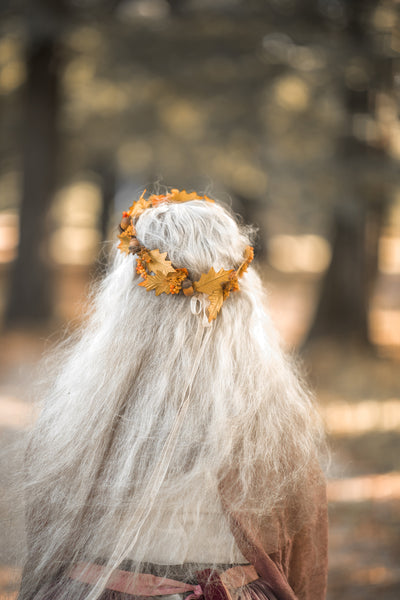 Autumn flower hair wreath with acorns Wedding wreath Pine cones Orange Yellow Bridal wreath Magaela Hair accessories Woodland wreath Fall