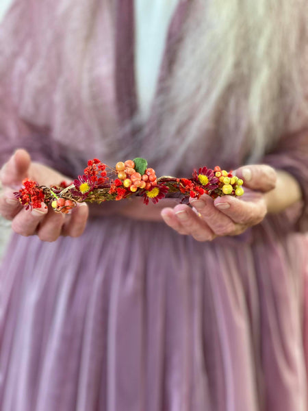 Autumn wedding half wreath Bridal flower crown Hair jewellery Fall wedding Magaela accessories Handmade Red flower half wreath with berries