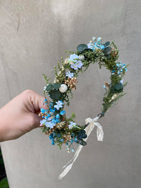 Blue meadow flower hair wreath with eucalyptus Bridal flower crown Magaela accessories Eucalyptus autumn hair wreath Blue flower crow