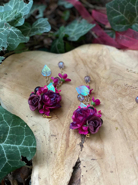 Romantic burgundy earrings Wedding floral earrings Wedding accessories Magaela accessories Handmade Flower dangle earrings Maroon