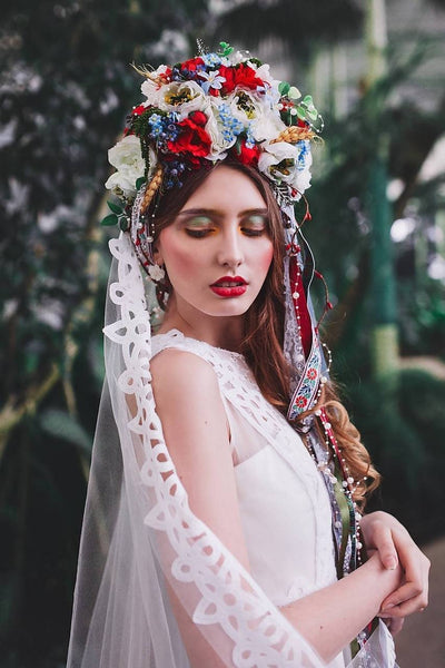 LAST ONE AVAILABLE wedding flower crown Boho style Hair accessories Wedding accessories Folk style Magaela Special floral crown Parta