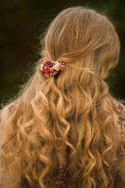 Bridal autumn flower hair clip Wedding hair clip in red colours Magaela Hair accessories for bride Autumn wedding hair piece 2021
