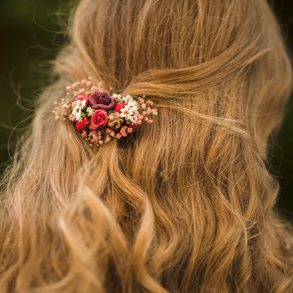 Autumn flower hair clip Wedding hair clip in red colours Bridal hair clip Hair accessories for bride Autumn wedding hair piece Magaela