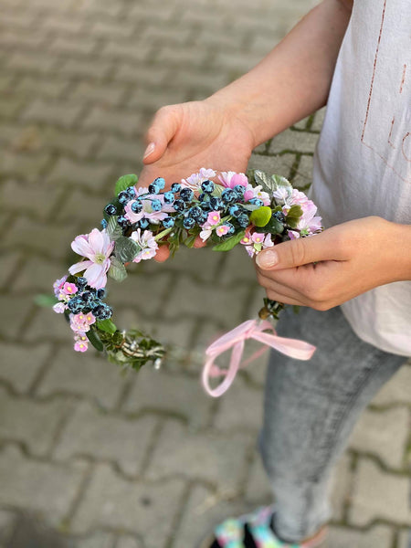 Romantic hair wreath in pink and blue colours Pink hair wreath Flower hair crown Wedding flower crown Bridal hair wreath Bridal vine Magaela