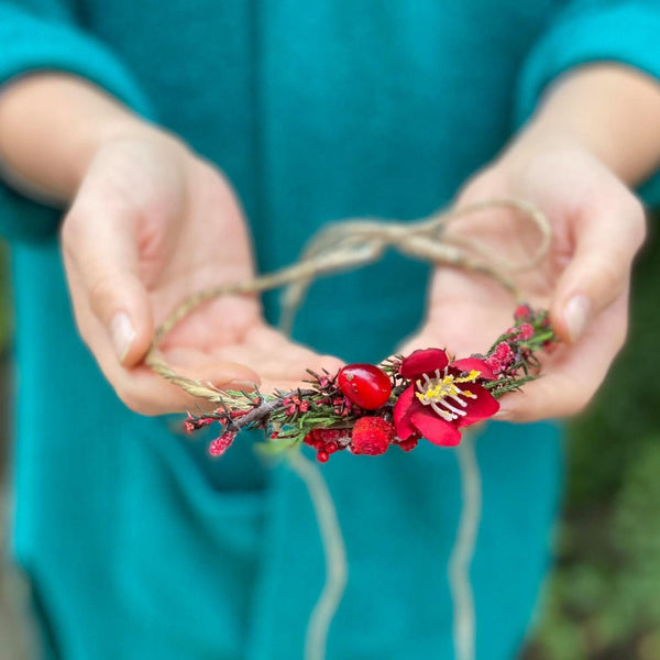 Rose hips newborn head wreath red flower head wreath newborn photography photo prop child wreath newborn crown baby photo baby flower crown