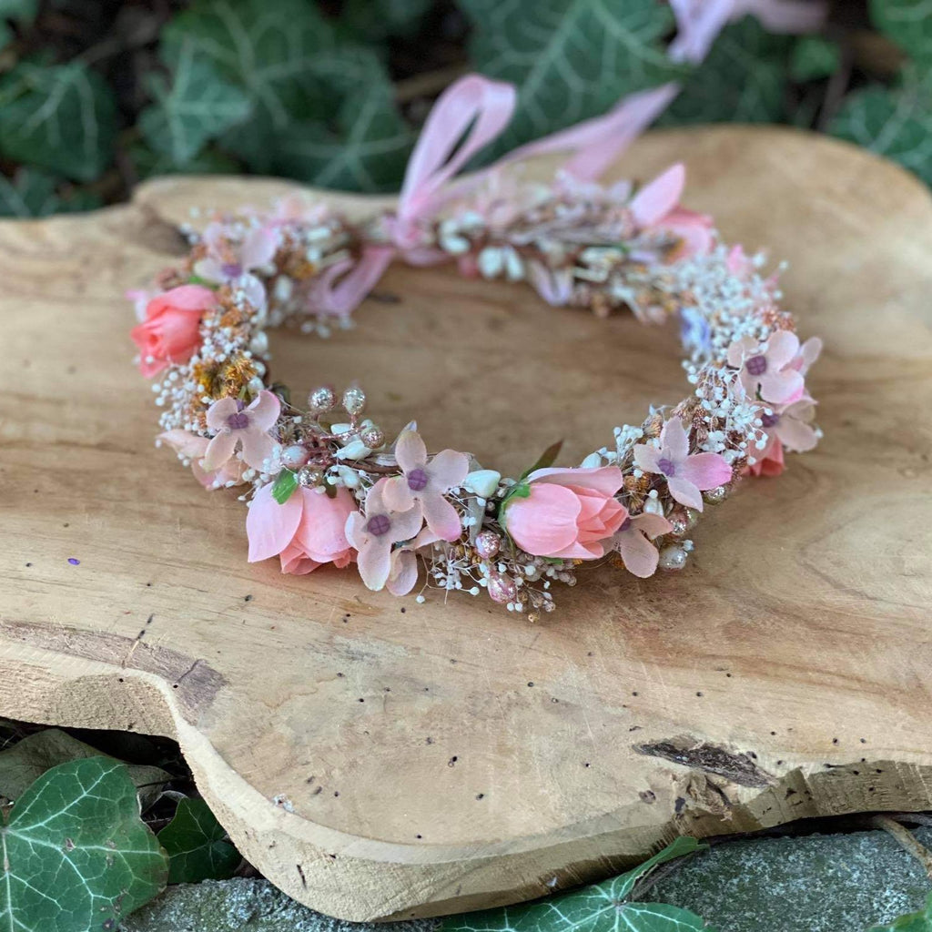 Newborn pink hair wreath Flower crown for daughter 1st birtday crown Romantic blush wreath Handmade flower crown Magaela Wedding Children