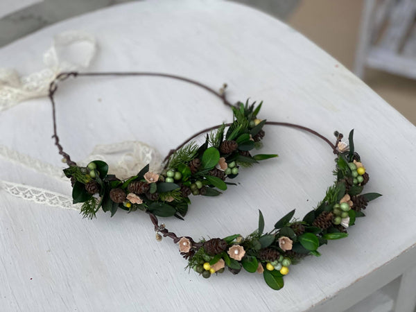 SALE Woodland flower crown for mummy and daughter Forest photoshoot Christmas present for girl Mother and daughter wreath Children's hair wreath
