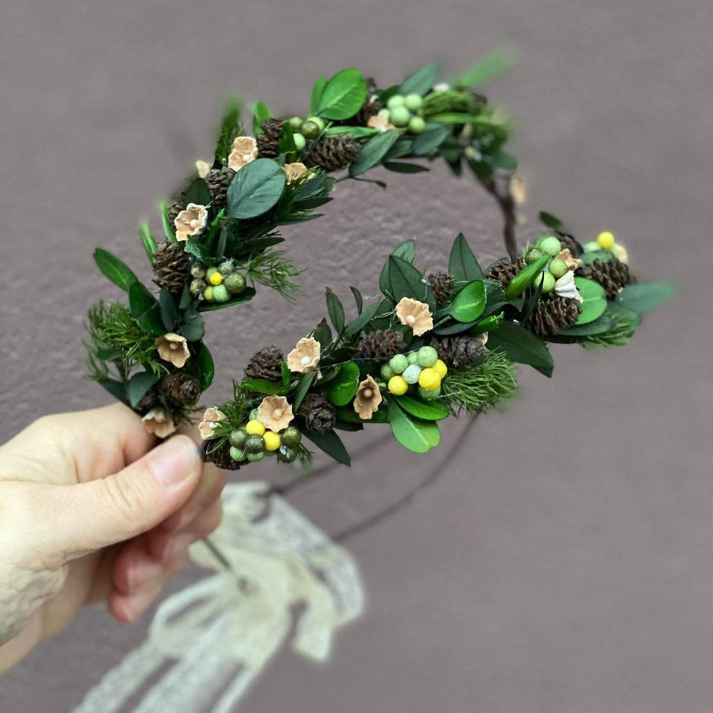Woodland flower crown for mummy and daughter Forest photoshoot Christmas present for girl Mother and daughter wreath Children's hair wreath