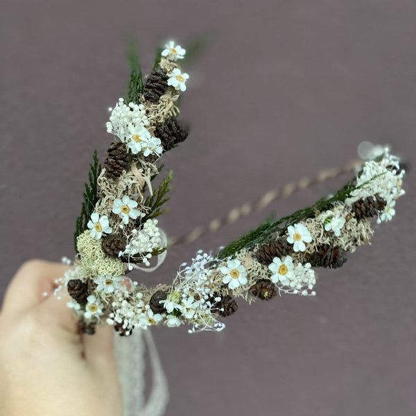 SALE Ivory woodland flower crowns for mummy and daughter Forest photoshoot Christmas present Mother and daughter wreath Children's hair wreath