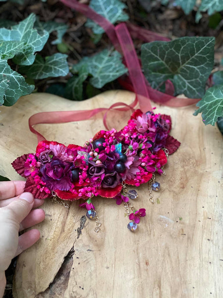 Romantic burgundy necklace Wedding floral necklace with beads Wedding accessories Magaela accessories Handmade Flower fuchsia necklace