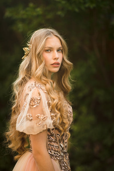 Golden floral wedding half crown Golden bridal hair vine Bridal wreath Wedding tiara Bridal hair piece Wedding accessory Magaela Handmade
