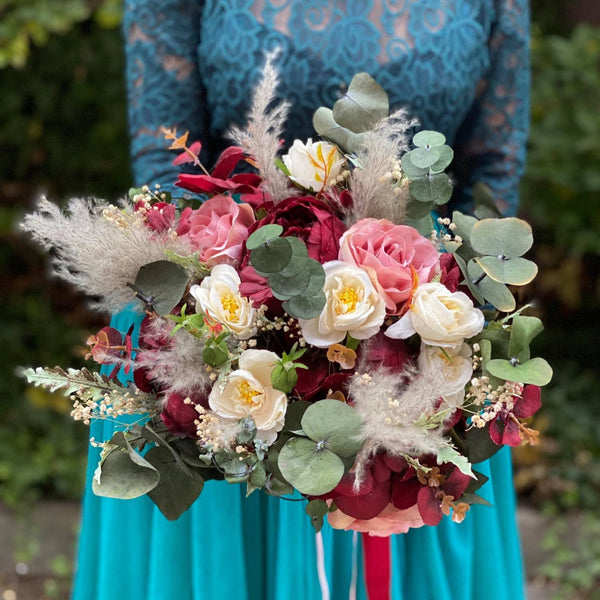SALE Romantic wedding bouquet Blush Burgundy Ivory roses bouquet Pampas grass bridal bouquet maroon Bouquet for bride Hochzeit Magaela