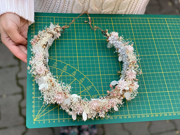Flower wedding wreath Hair wreath for bride Pastel flower crown Magaela accessories White and blush flower crown Romantic hair wreath