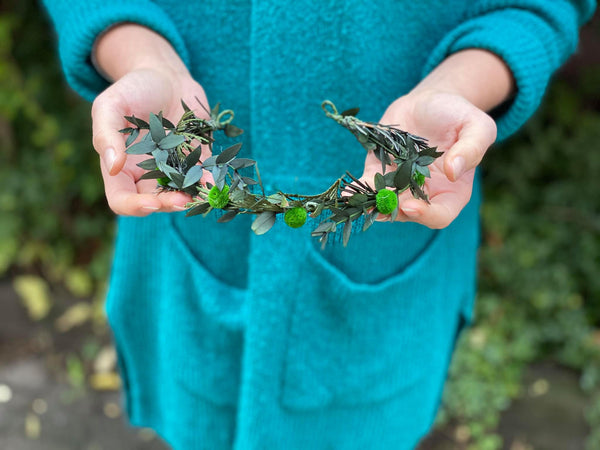 Greenery flower half wreath Bridal accessories Forest wedding vine Pine needles crown Half wreath for bride Woodland photoshoot Magaela