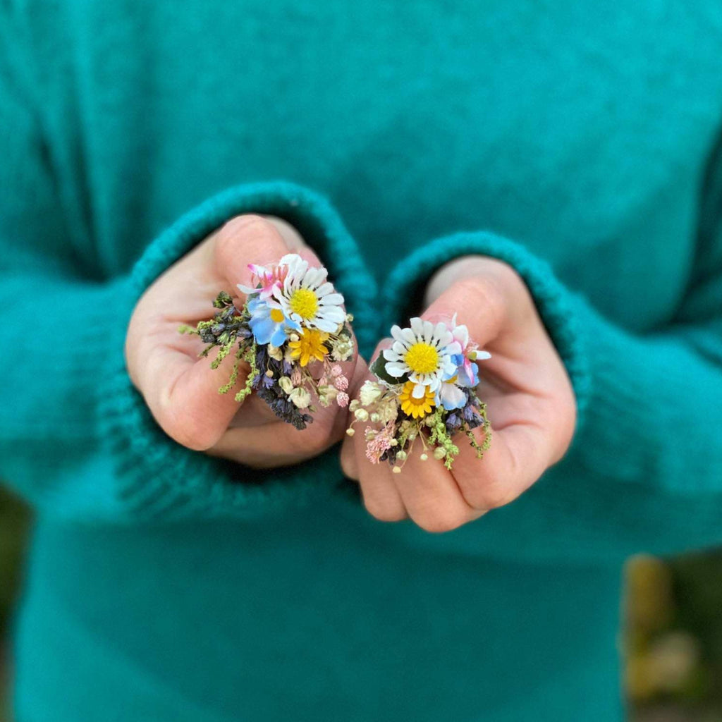 Meadow flower earring Stud flower earrings Bridal earrings Fashion flower studs Magaela Wedding accessories Meadowy wedding  Colourful studs