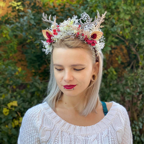 SALE Christmas hair headband with antlers Flower hair crown Halloween hairband Hair crown for halloween Xmas hairband Reindeer headband