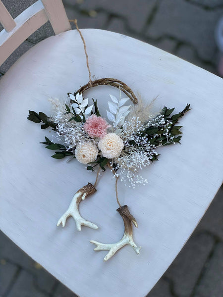 Flower Christmas decoration with antlers Home decor Xmas Hanging christmas winter decoration White and green decoration for homes Magaela