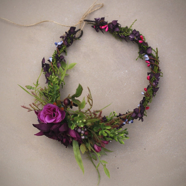 Wreath colors of autumn, flower head wreath, floral head wreath, headband, fairy wreath, purple wreath, flower hair crown, wedding wreath