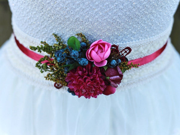 "flower belt ""colors of autumn - dahlia in blueberries"",wedding belt, elegant belt, romantic belt, natural belt, handmade fashion accessories"