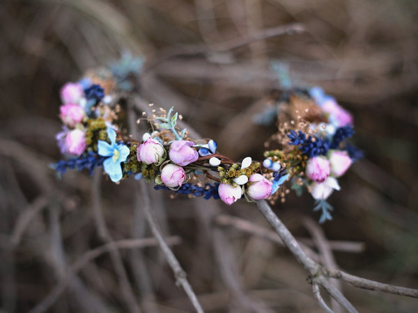 Half Wreath remembering provence Flower head wreath Lavender half wreath Headband fairy flower wreath Flower hair crown Wedding hair wreath