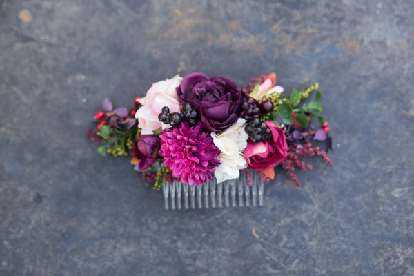 Flower Hair comb pink burgundy bride hair flowers wedding comb bridal hair fashion accessories barn wedding woodland style