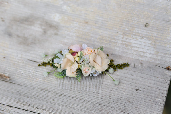 Flower Hair comb floral cream peach pink fairy hair flowers wedding comb bridal hair fashion accessories barn wedding woodland style spring