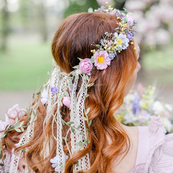 Romantic meadow flower wreath with veil Daisy flower crown Pastel bridal headpiece Wedding Ribbon veil Hanging vines Pink hair piece Magaela