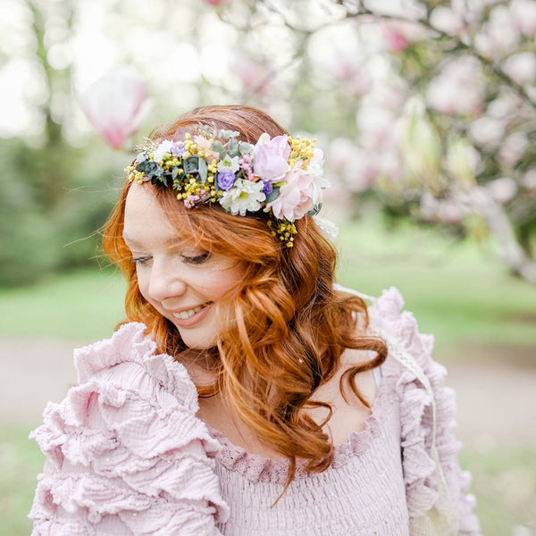 Romantic bridal crown Meadow hair wreath Wedding hair flowers Bridal accessories Comfortable headpiece Wedding 2021 Magaela One side flowers