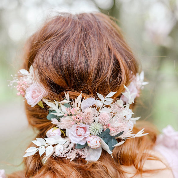 Romantic flower hair vine Bridal headpiece Pink flower crown Magaela accessories Wedding hair flowers Hair arrangement Preserved crown