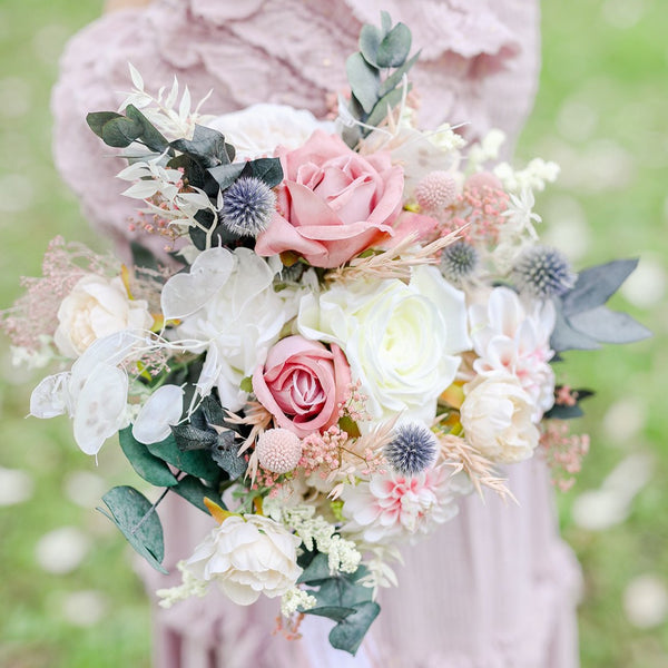 Romantic pink bridal bouquet Eucalyptus flower bouquet Magaela Wedding Natural pastel bouquet for bride Roses Thistles bridesmaid Preserved bouquet