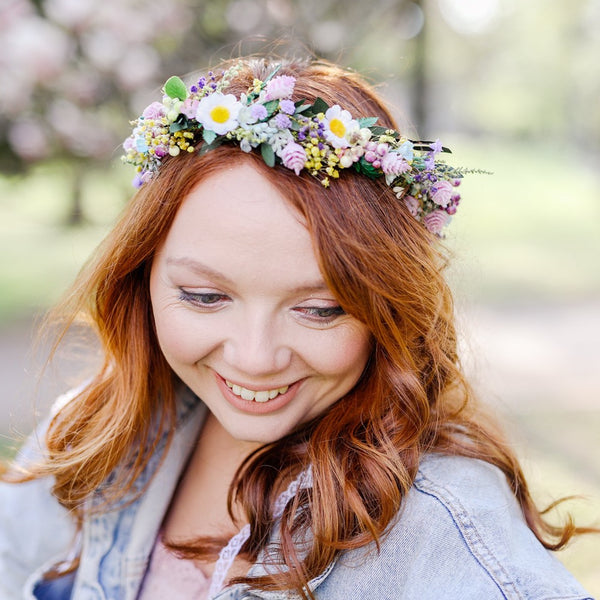 Meadow daisy flower crown Wedding hair wreath Natural spring summer flower headpiece for bride Wildflowers colourful flower crown Magaela