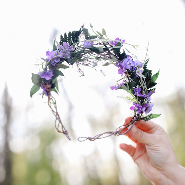 Purple bridal flower wreath Natural blumenkranz Wedding hair flowers Violet and green headpiece 2021 bridal inspiration Magaela Meadow