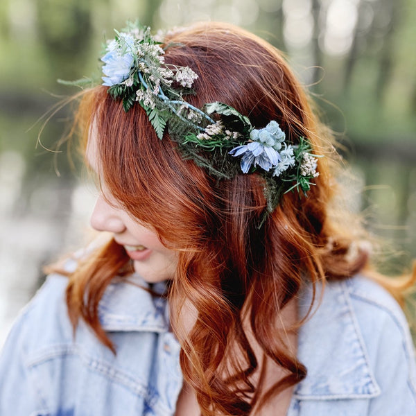 Blue and green bridal wreath Hair crown for bride Natural headpiece Flower crown Handmade Long lasting crown Customisable Magaela