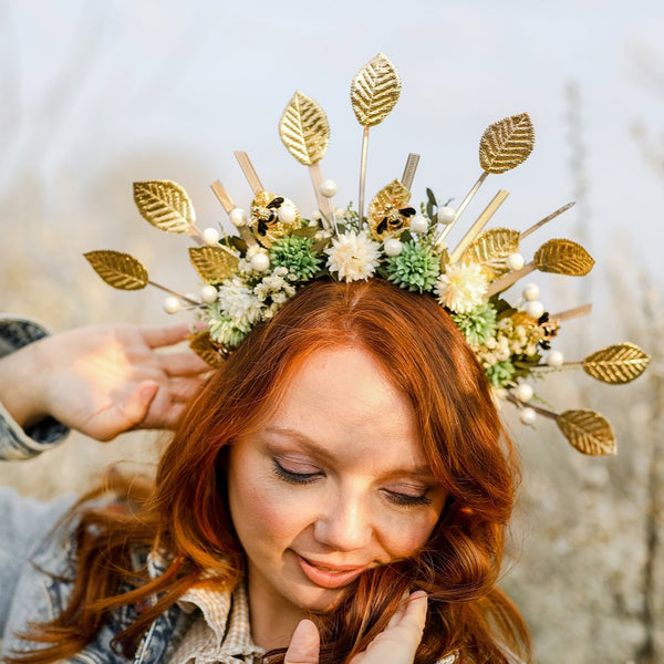 Golden flower halo crown Bees Bridal headpiece Natural green and white headband Met gala sun headpiece Handmade spike crown Beyonce Magaela