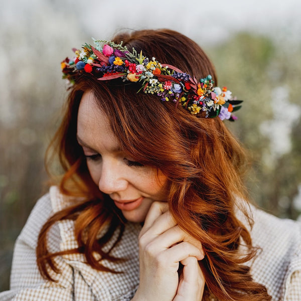 Colourful wedding hair crown Bridal meadow headpiece Flower crown for bride Preserved long lasting crown Wildflowers wedding crown Magaela