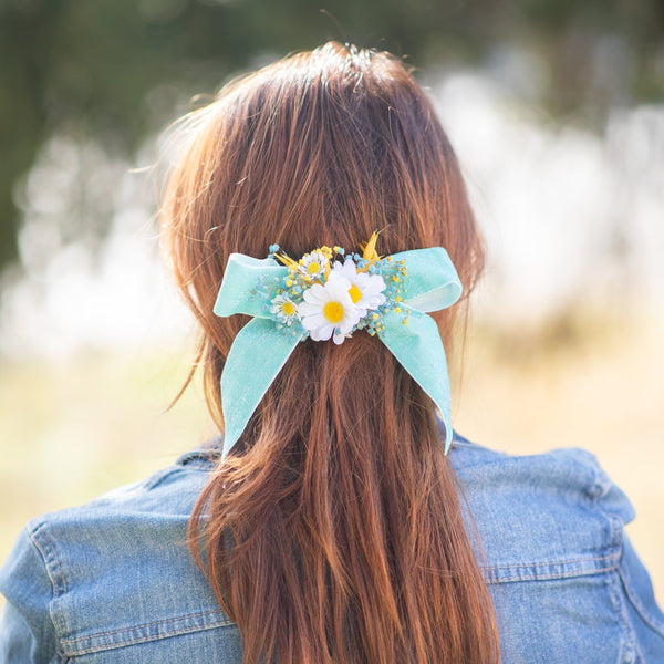 Turquoise meadow flower hair clip Bridal hair barrette Magaela Wedding 2021 Blue and white meadow headpiece Ponytail flower clip Handmade